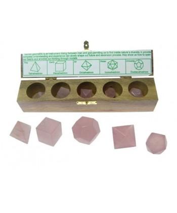 Solidos Platónicos cuarzo rosa 5uds. con estuche