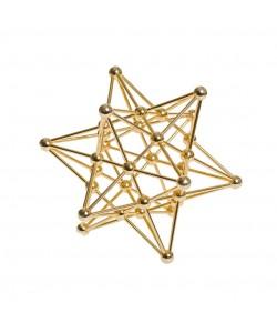 Dodecaedro Estrellado. Fabricado en latón dorado